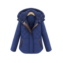 2016 Trendy PU Insert Long Sleeve Hooded Padded Coat