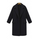 Fall Winter Notched Lapel Long Sleeve Longline Wool Coat