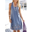 Sexy Round Neck Sleeveless Floral Print Tank A-Line Dress