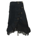 Black Lace Detail Asymmetrical Hem Gothic Punk Skirt