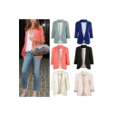 Fashion Notched Lapel 3/4 Sleeve Open-Front Placket Blazer