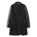 New Stylish Leather Long Sleeve Panel Zipper Popper Button Placket Stand-Up Collar Midi Coat