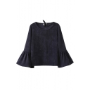 Stylish Bell Sleeve Tie-back Round Neck Corduroy Blouse