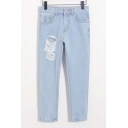 Light Wash Blue Ripped Detail High Waist Jeans