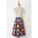 Graffiti Color Block Zip-Back Midi Pleated Skirt
