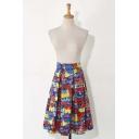 Graffiti Color Block Zip-Back Midi Pleated Skirt