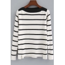 Slim Contrast Neck Striped Color Block Split Trim Long Sleeve Sweater