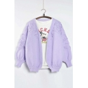 New Arrival Fashion Puff Sleeve Floral Decoration Open-front Cardigan