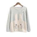 Cute Rabbit Color Block Round Neck Long Sleeve Sweatshirt