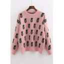 New Pineapple Drop Shoulder Long Sleeve Round Neck Sweater