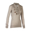 Fashion V-Neck Long Sleeve Buttons Embellished Pullover Sweatshirt