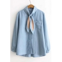 New Style Adorable Rabbit Ears Tie Front Striped Shirt