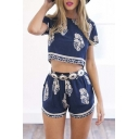Round Neck Short Sleeve Cropped Top Elastic Waist Shorts Floral Print Casual Co-ords