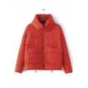 New Style High Neck Zip Up Padded Short Coat with Big Pockets