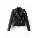 Fashion Cool Notched Lapel Zipper Detail Long Sleeve Leather Jacket with Belt
