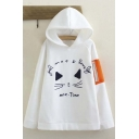 Fashion Cute Cat Letter Embroidered Color Block Long Sleeve Hoodie