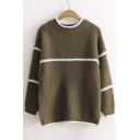 New Style Half High Neck Striped Color Block Long Sleeve Sweater
