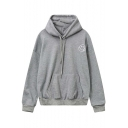 Oversized Hooded Smile Print Drop Long Sleeve Reversible Hoodie with Kangaroo Pocket