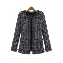 Women's Elegent Long Sleeve Collarless Bomber Tweed Jacket Coat Black
