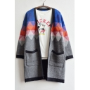 New Arrival Fashion Diamond-Shaped Color Block Cardigan