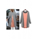 Women's Fashion Color Block Faux Two-piece Long Sleeve T-shirt Plus Size