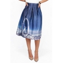 Fashion Night Scene Digital Print High Waist A-line Skirt