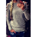 Fashion Round Neck Cutout Long Sleeve Knitted Sweater
