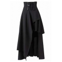 Stylish Lace Up Waist Black Asymmetric Skirt