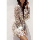 Sexy Plunge Wrap Neck Blouson Sleeve Sequined Tassel Hem Mini A-Line Dress