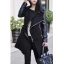 New Stylish Stand-Up Collar Long Sleeve Belt Waist Zipper Placket Midi Coat