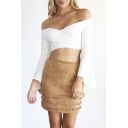 Fashion OL Style Tassel Plain Mini Bodycon Skirt