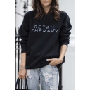 Unisex RETAIL THERAPY Print Round Neck Long Sleeve Pullover Sweater