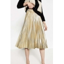 Blinking Metallic Plain Print Elastic Waist Midi Pleated Skirt