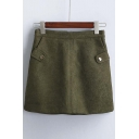New Style High Waist Mini A-Line Skirt with Two Pockets