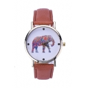2016 Hot Colorful Elephant Print Leather Band Wristwatch
