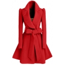 2016 Winter New Fashion Notched Lapel Coat with Bow Tie Belt