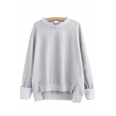 Stylish Stripe Trim Dip Hem Long Sleeve Sweatshirt
