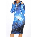 Stylish Galaxy Digital Print Long Sleeve Midi Sweatshirt Dress