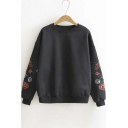 Chic Floral Embroidered Long Sleeve Round Neck Fleece Sweatshirt