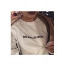 NEED MONEY NOT FRIENDS Print Round Neck Long Sleeve Pullover Sweatshirt