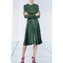 Blinking Metallic Plain Print Midi Pleated Skirt