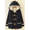 Preppy Style Hooded Toggle Single Breasted Striped Cuffs Long Sleeve Coat