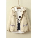 Trendy Hooded Embroidery Fish Print Zipper Placket Elastic Cuffs Long Sleeve Coat