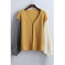 New Style Loose Color Block Long Sleeve Open-Front Knitted Coat