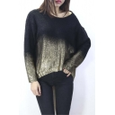 Hot Females Knitted Bronzing Sweater Batwing Sleeve Gradient Loose Fall Winter Pullover Sweater