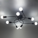 Chic Modern Designed 8 Light Edison Bulb Style Large Semi Flush Mount Indoor Ceiling Fixture