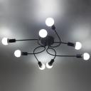 Chic Modern Designed 8 Light Edison Bulb Style Large Semi Flush Mount Indoor Ceiling Fixture