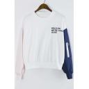 2016 New Style Color Block Zip Detail Long Sleeve Pullover Sweatshirt