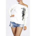 Fashion Winter Tree Print Sexy Off Shoulder Fleece Sweatshirt
