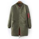 Fall Winter New Zipper Placket Stand-Up Collar Elastic Trim Coat